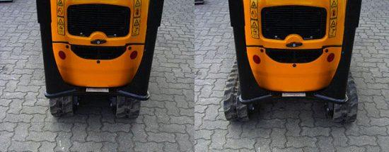 Das Fahrwerk kann von 0,7 m auf 1,0 m Breite ausgefahren werden. Die Standsicherheit wird erhöht.