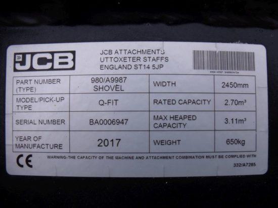 JCB Getreideschaufel Q-Fit Aufnahme